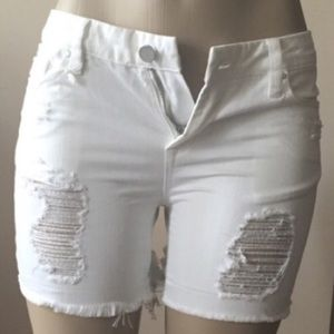 Blank NYC white Jean cut off distressed shorts